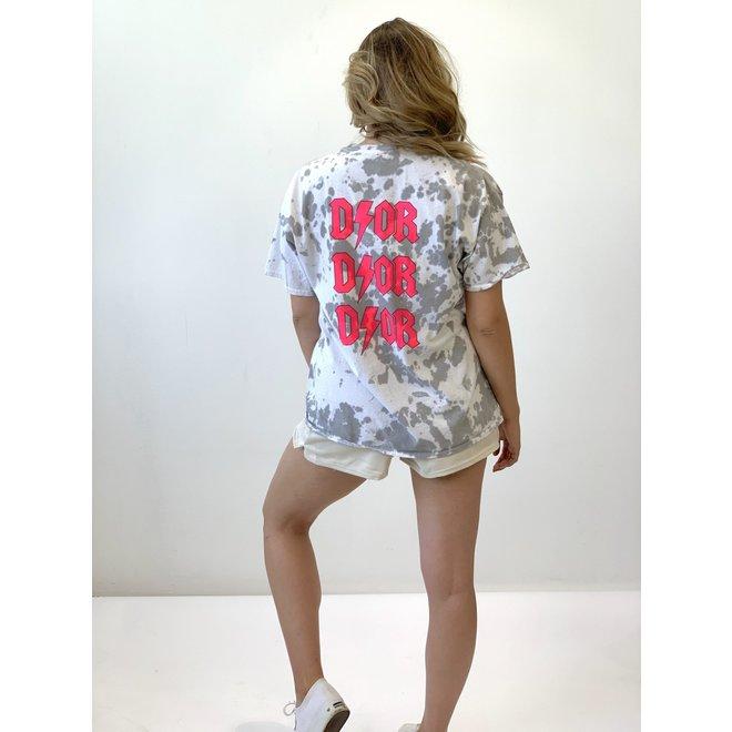 T-shirt D ⚡ O R Tie Dye Wit Roze