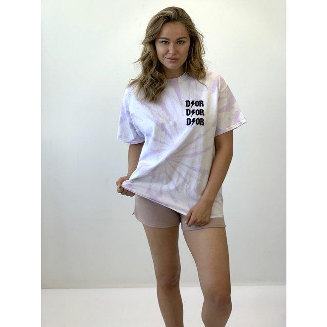 T-shirt D ⚡ O R Tie Dye Wit Lila