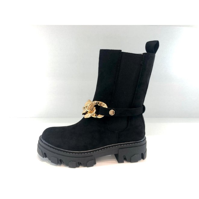 Chelsea Boots Ketting Zwart Suède