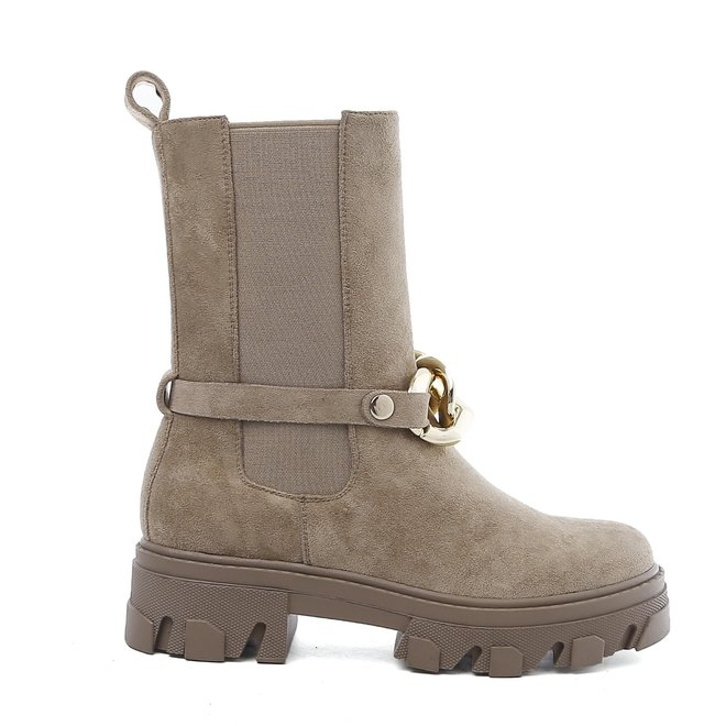 Chelsea Boots Ketting Suède Taupe Khaki