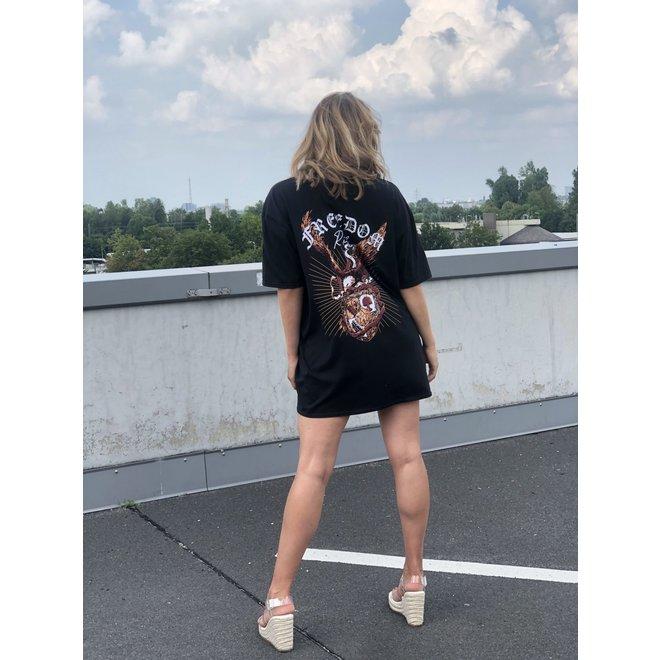 T-shirt Dress Freedom Rider Zwart