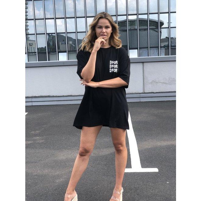 T-shirt Dress D ⚡ O R Zwart Wit