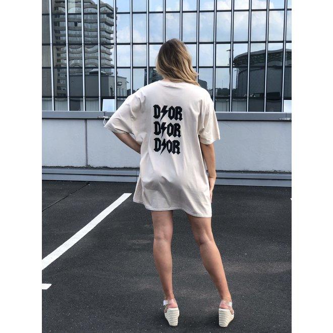 T-shirt Dress D ⚡ O R Beige Zwart