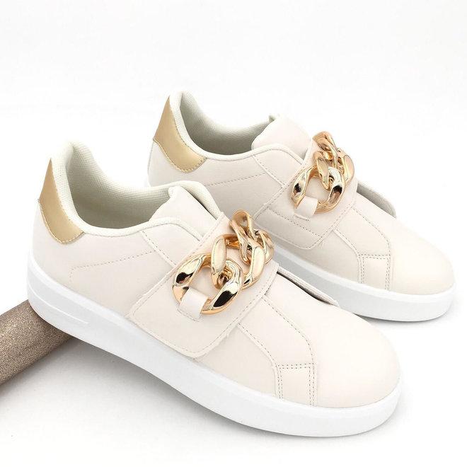 Sneakers Chain Beige Goud