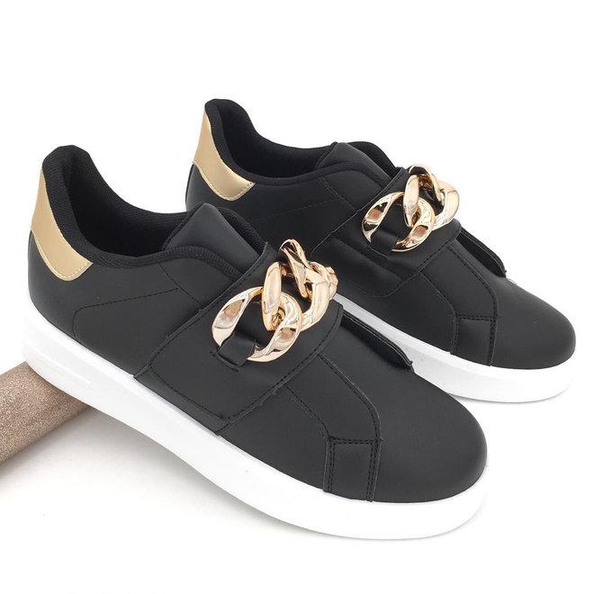 Sneakers Chain Zwart Goud