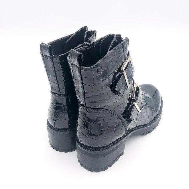 Biker boots met zilveren gespen Zwart Lak stone
