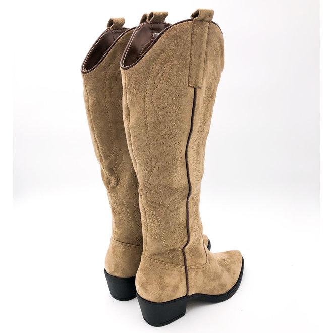 Cowboy boots hoog suede Taupe Khaki Zwarte Zool