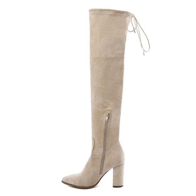 Overknee laarzen Beige suède