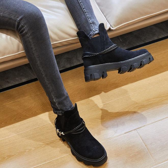 Chelsea boots Riempje Zwart Suède