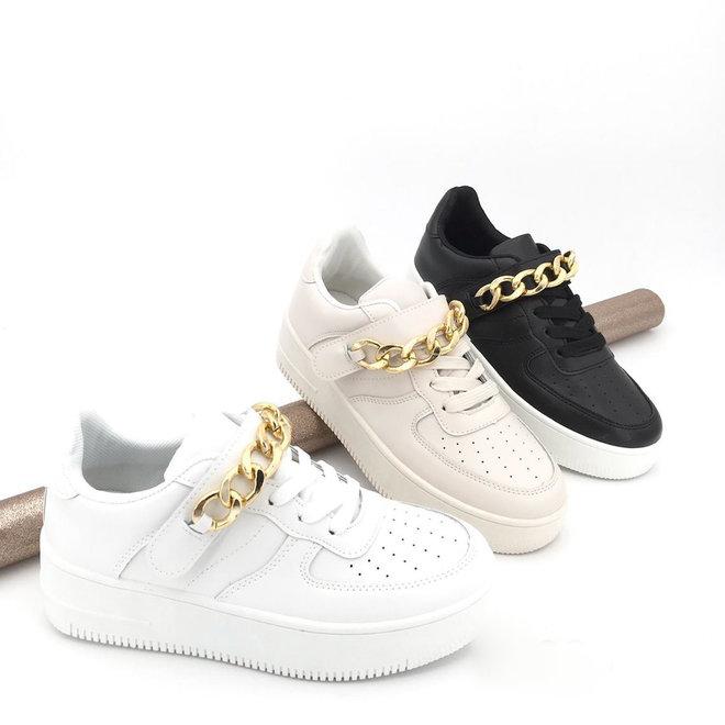 Sneakers Air Force Ketting Beige