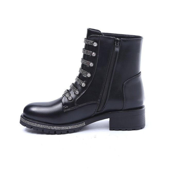 Biker boots met strass Zwart