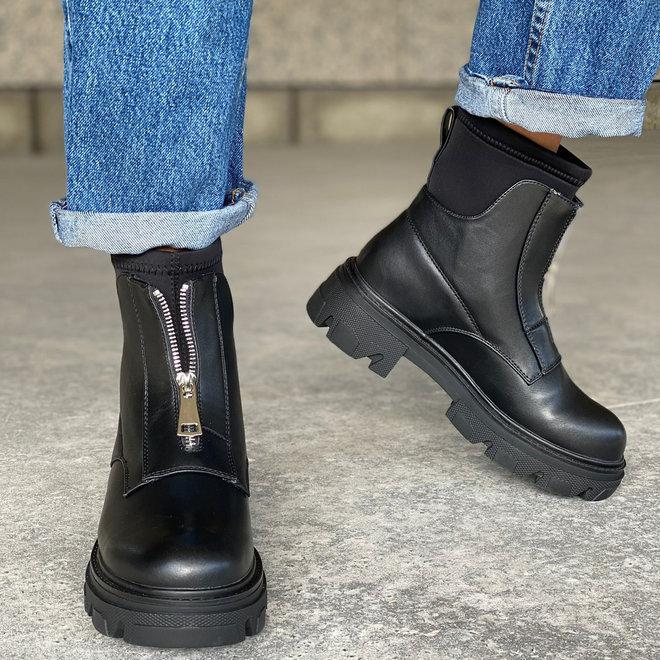 Biker boots Sock Rits Zwart