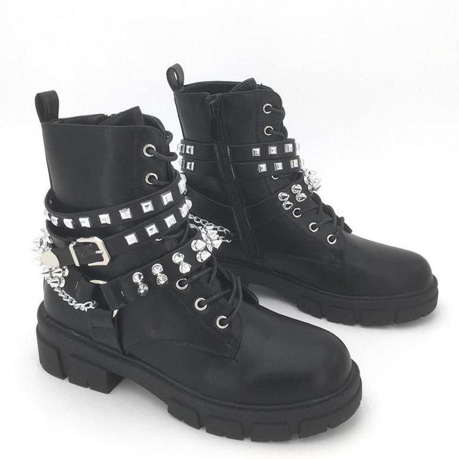 Biker boots Veter Zilveren studs Zwart