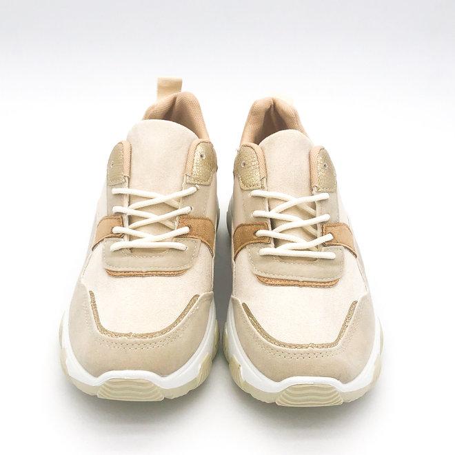 Sneakers Dad look Plateau Beige Goud