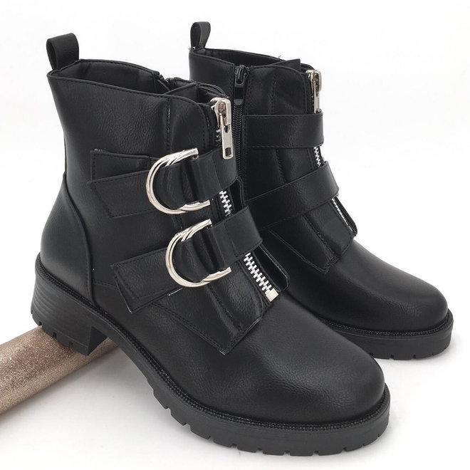 Biker boots dubbele gesp Zwart