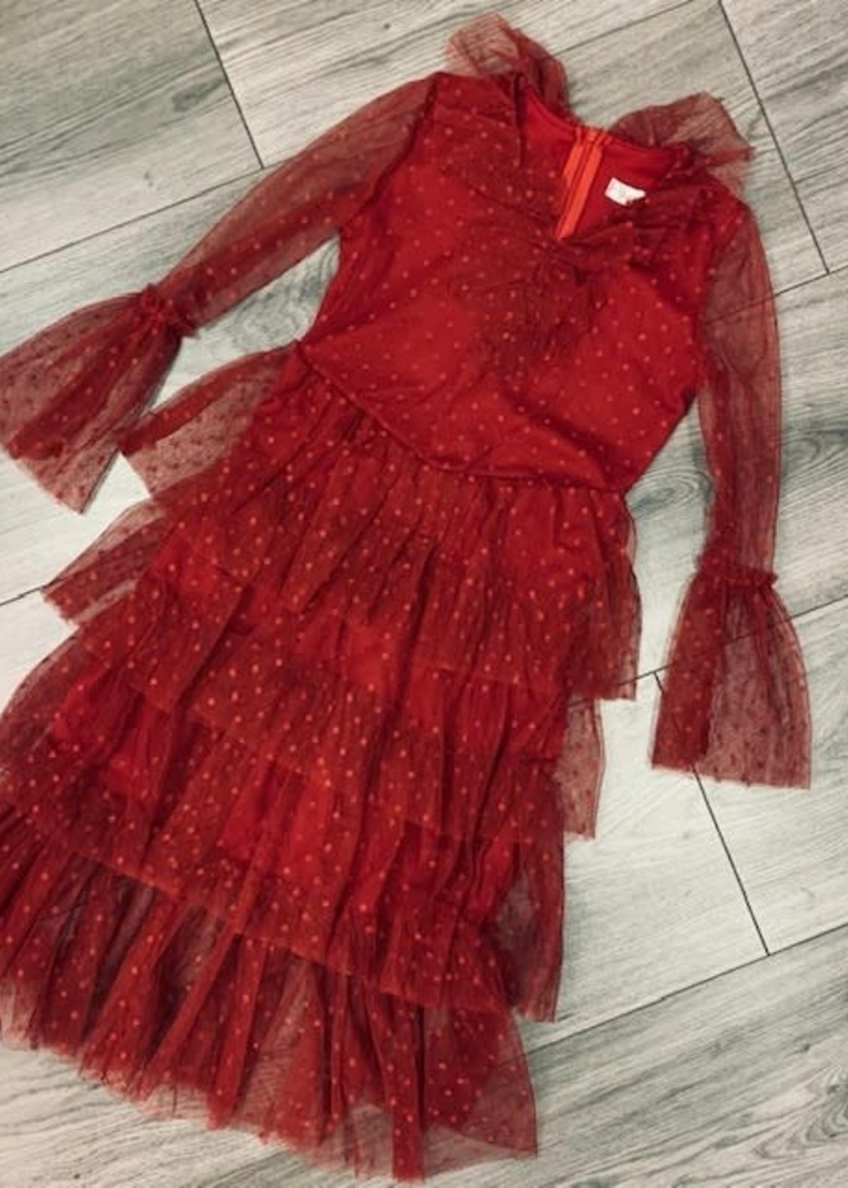 Divanis DIVANIS LONG TULLE DRESS RED
