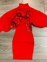 Divanis DIVANIS DRESS WITH BOW RED