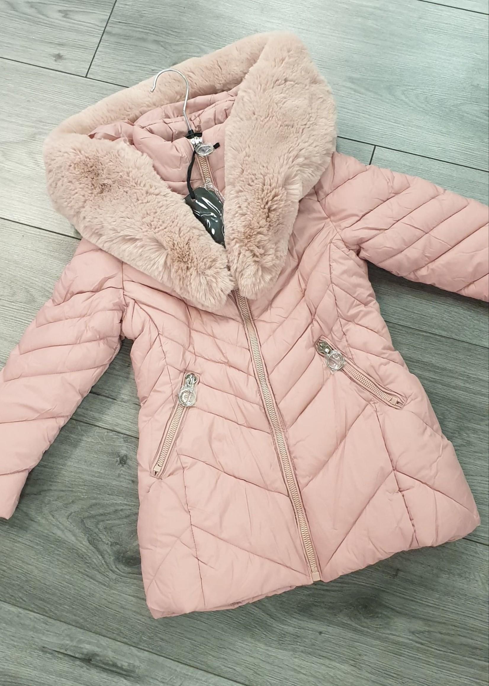Divanis meisjes winterjas met bont voor roze