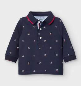 Mayoral mayoral l/s printed polo blue