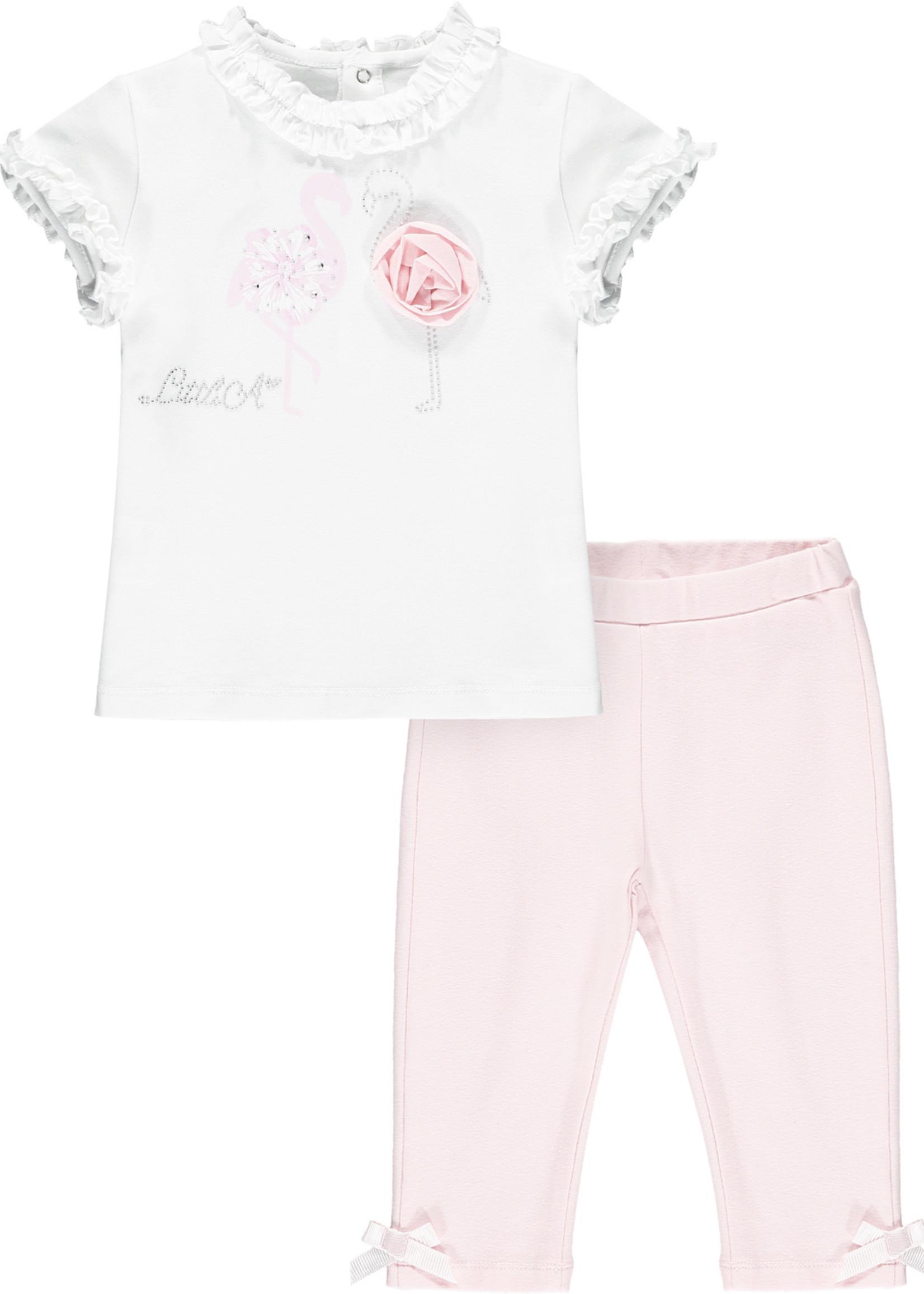Little Adee Jade white flamingo top legging set
