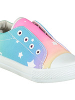 A Dee Laceless Rainbow print trainer