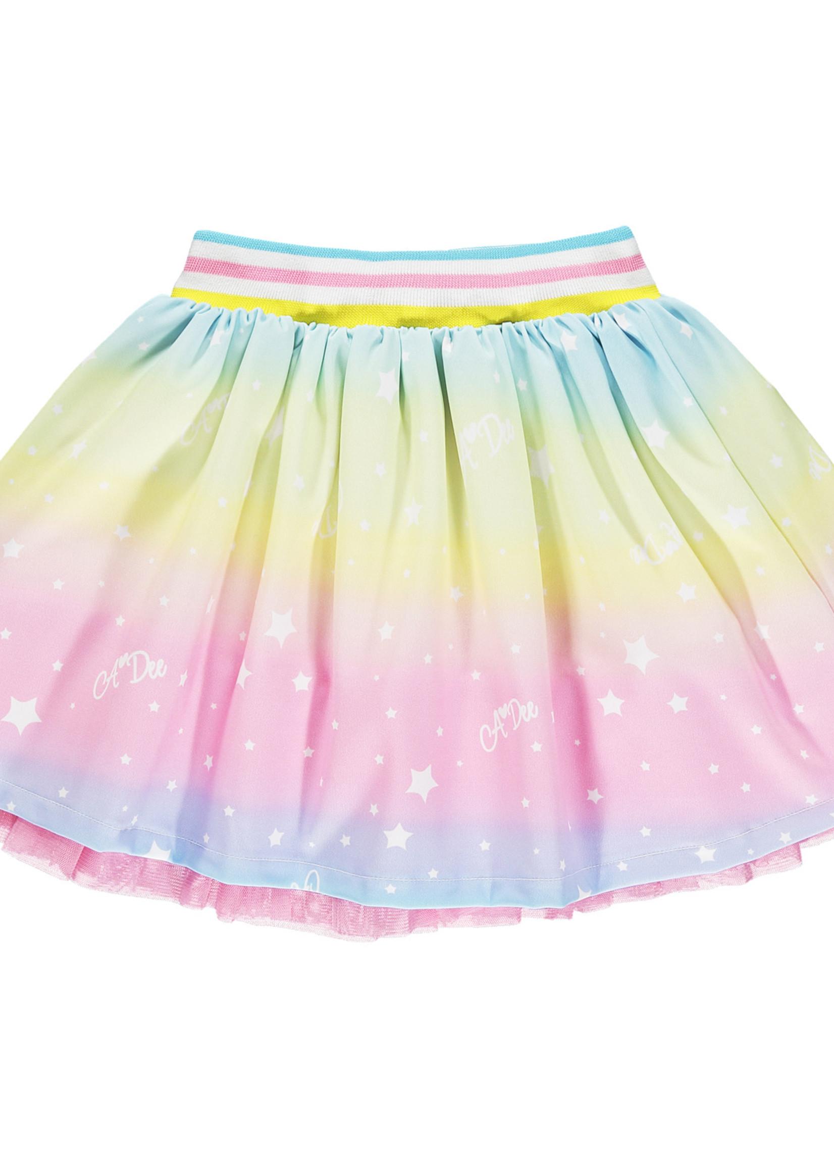 A Dee Noemi rainbow print skirt