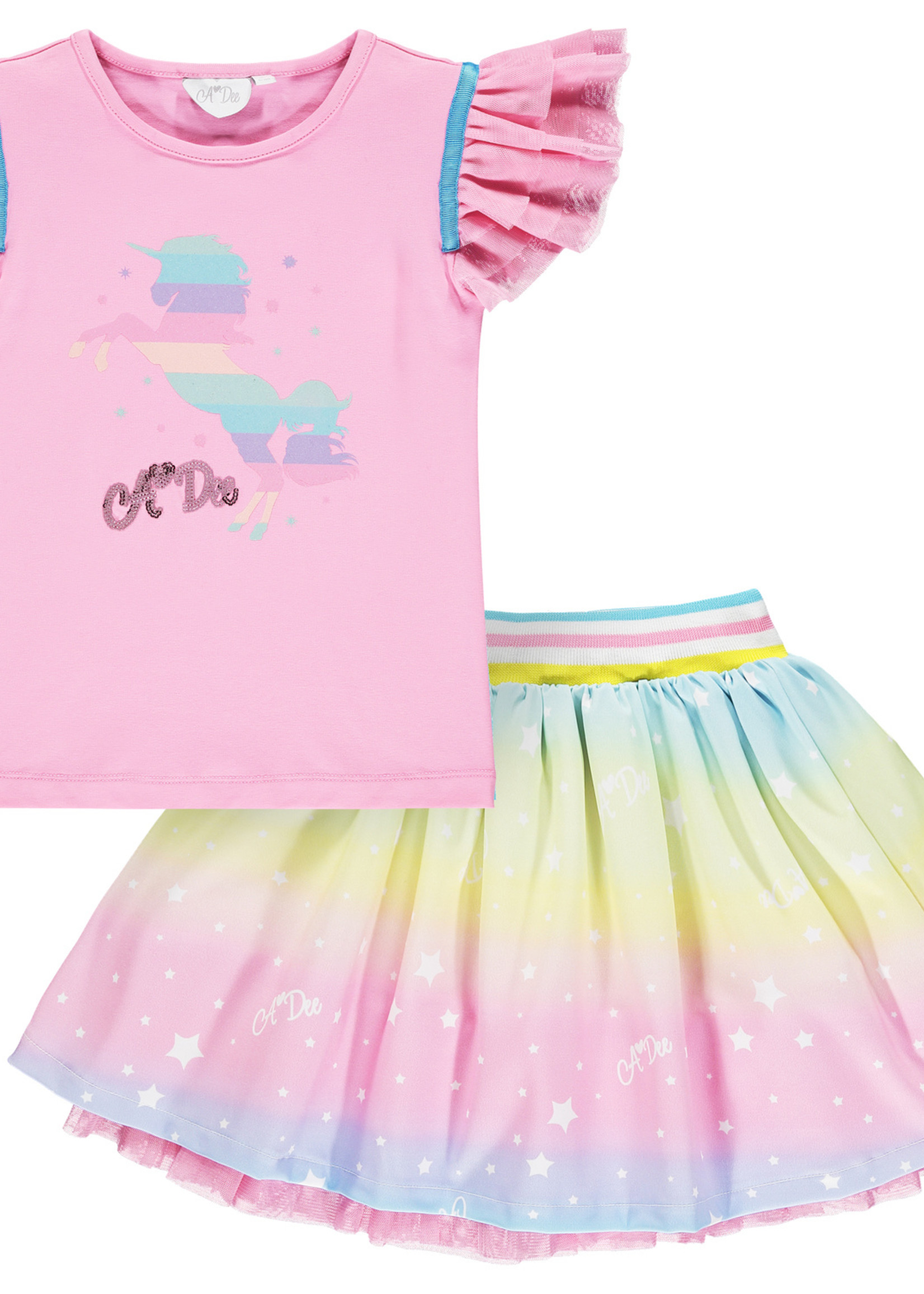 A Dee Nicky pink Rainbow unicorn t shirt