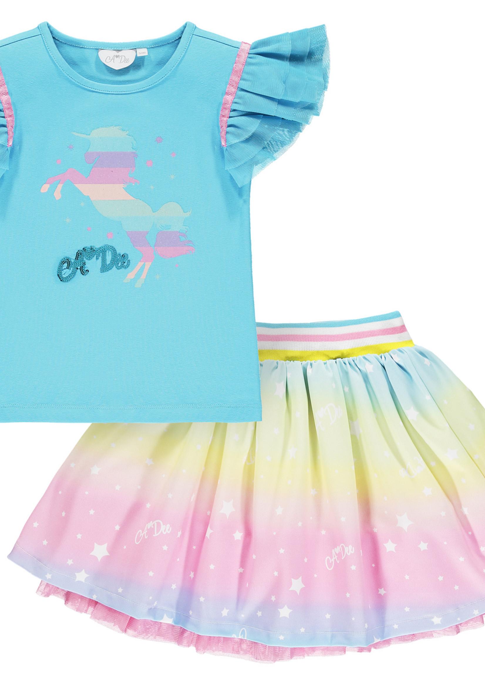 A Dee Nicky blue Rainbow unicorn t shirt