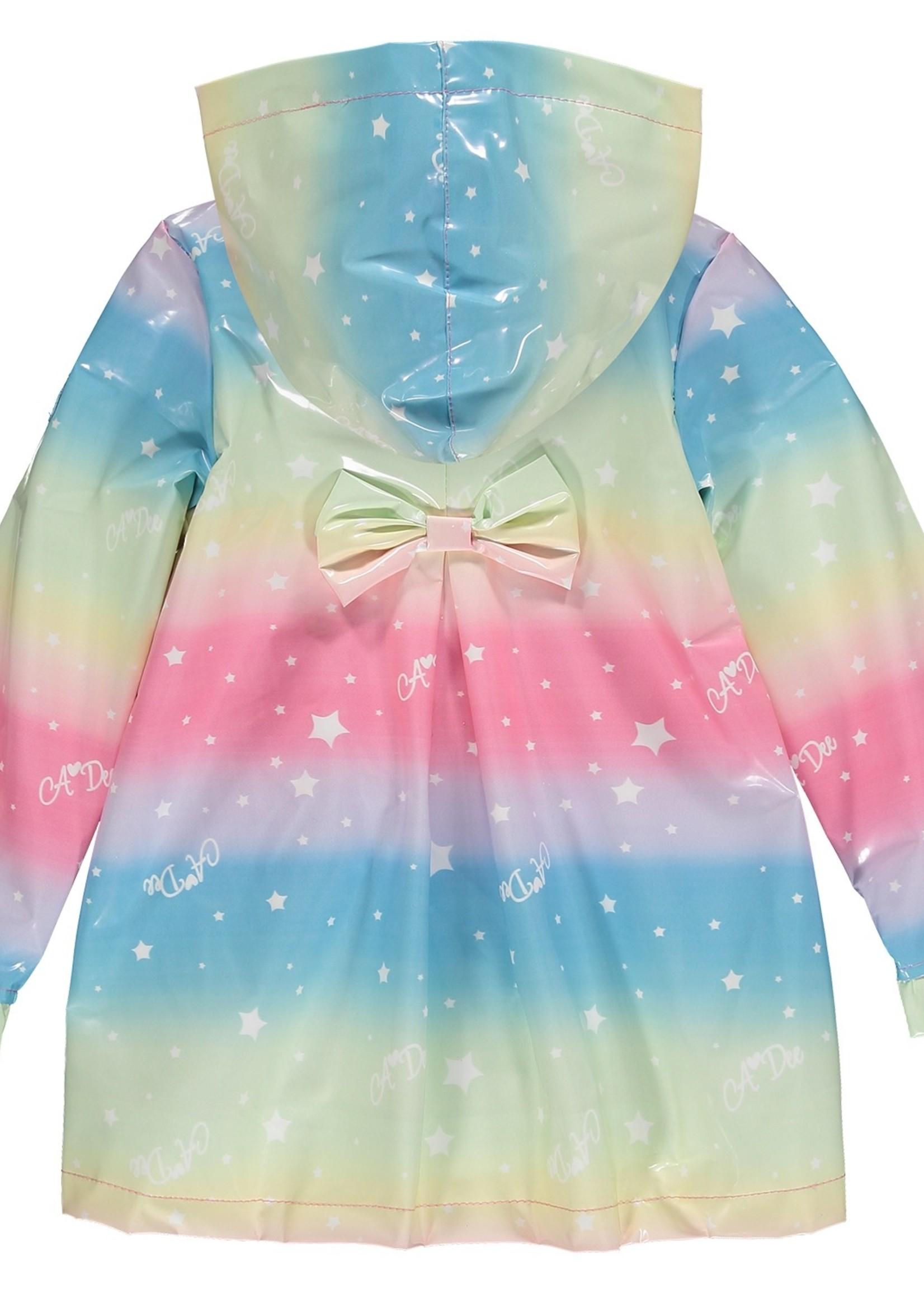 A Dee Nala rainbow print raincoat