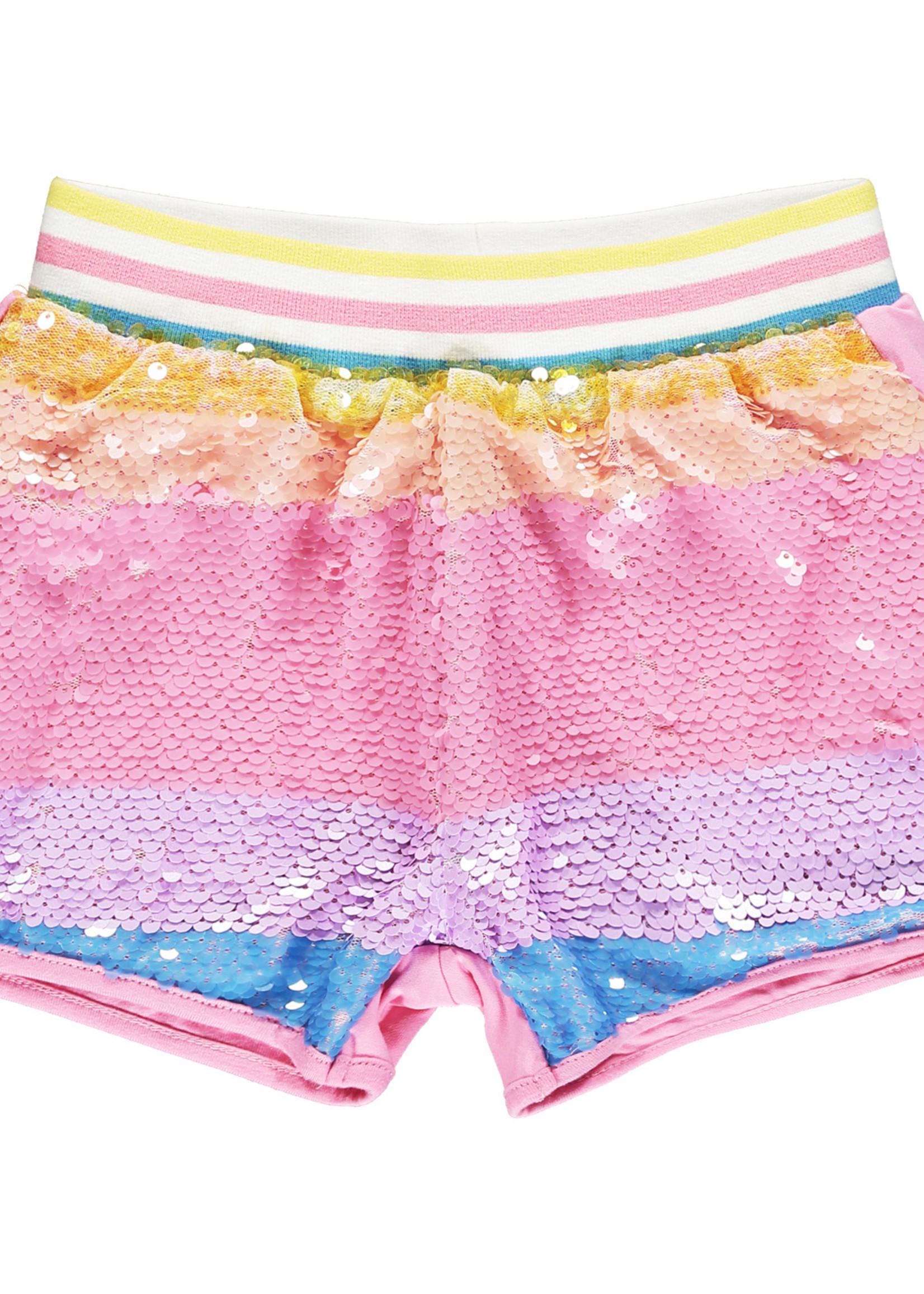 A Dee Norma 2 piece set rainbow sequin shorts