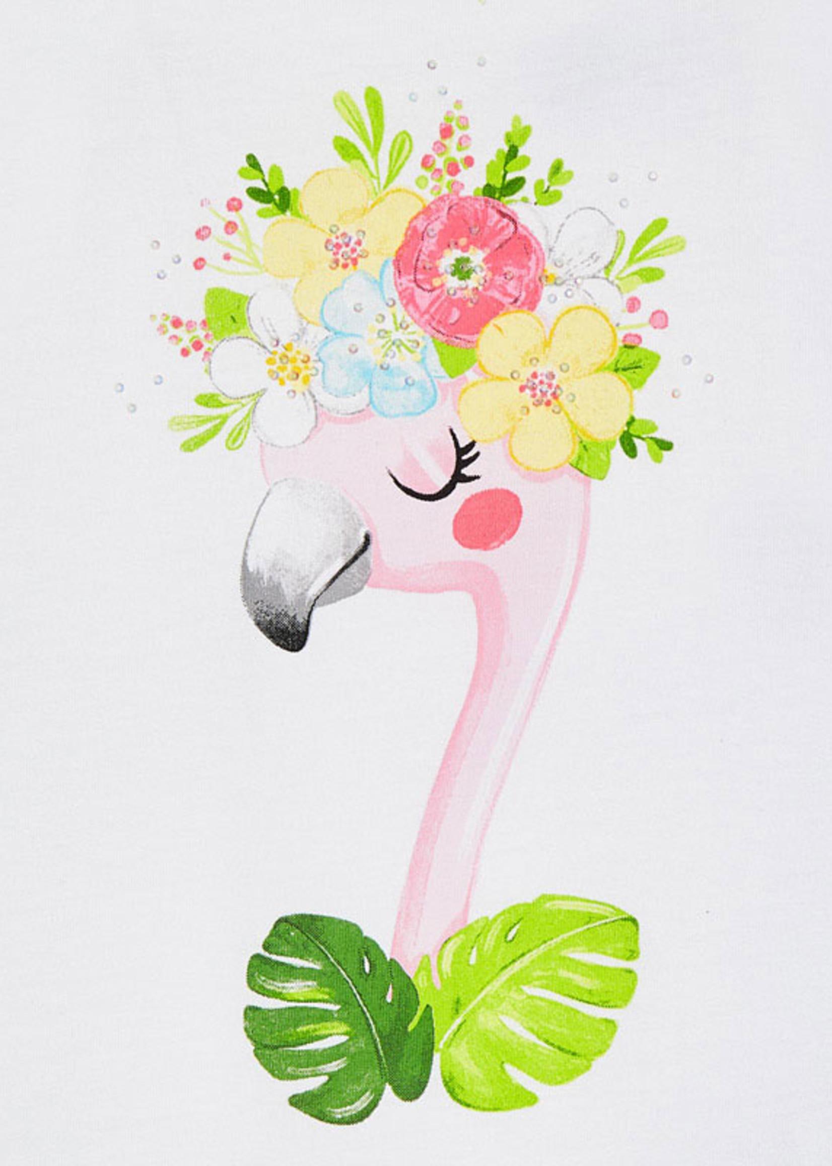 Mayoral Mayoral Embroidered short set flower flamingo