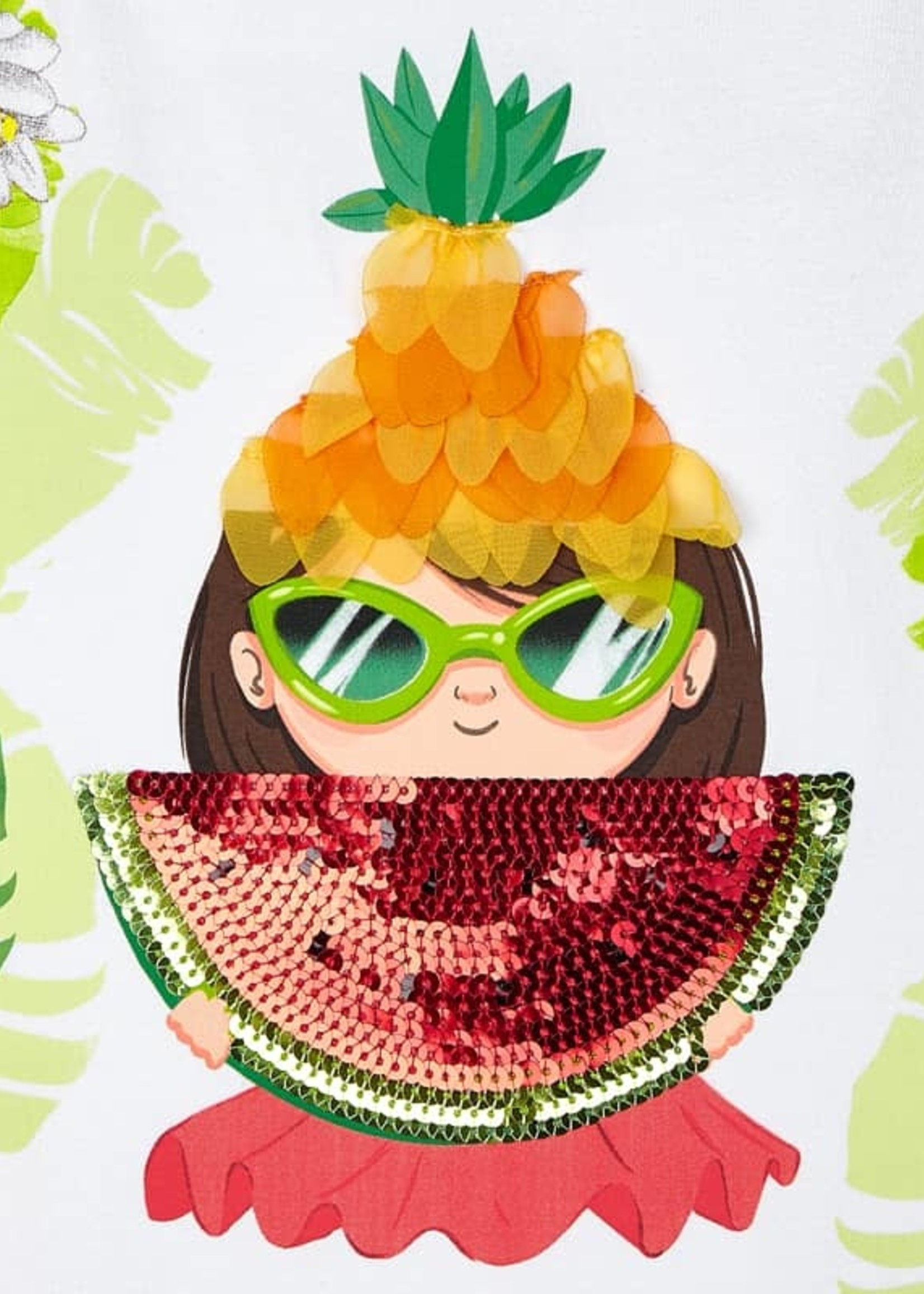 Mayoral Mayoral watermelon dress with graphic apliques