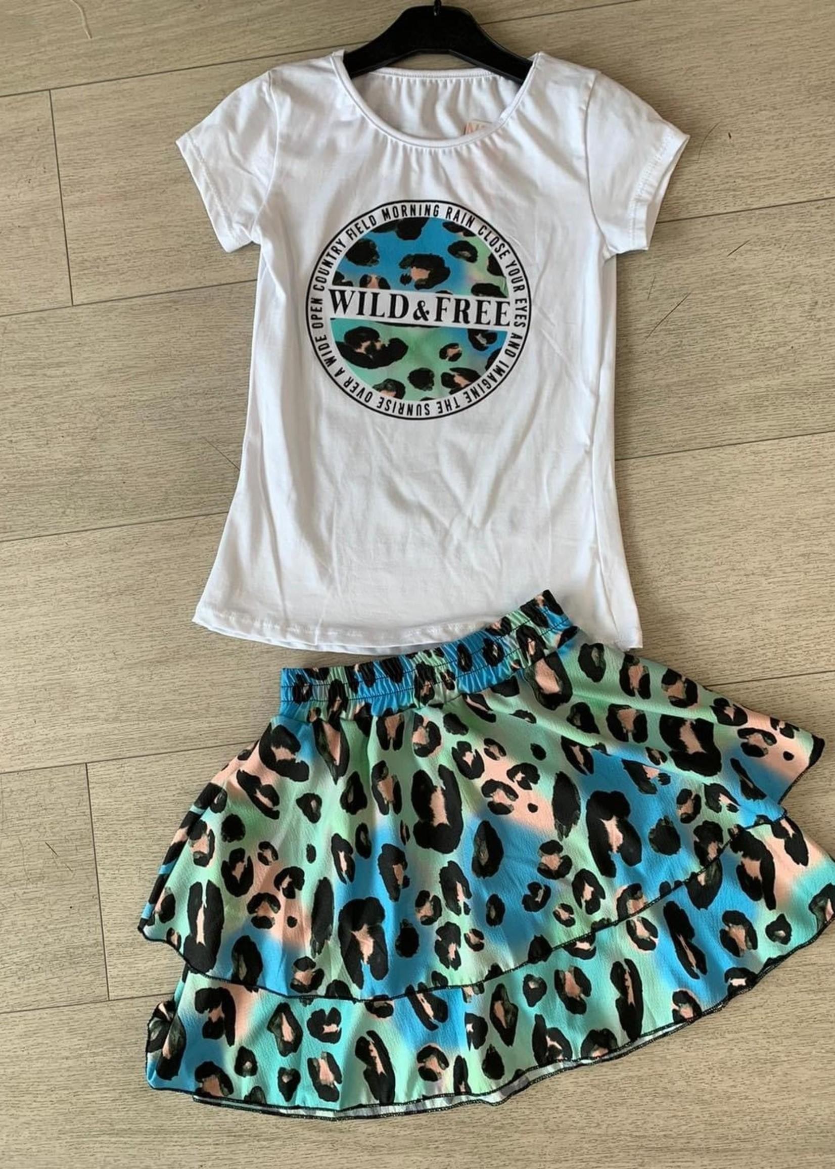 Divanis Divanis wild & free skirt set panter groen blauw
