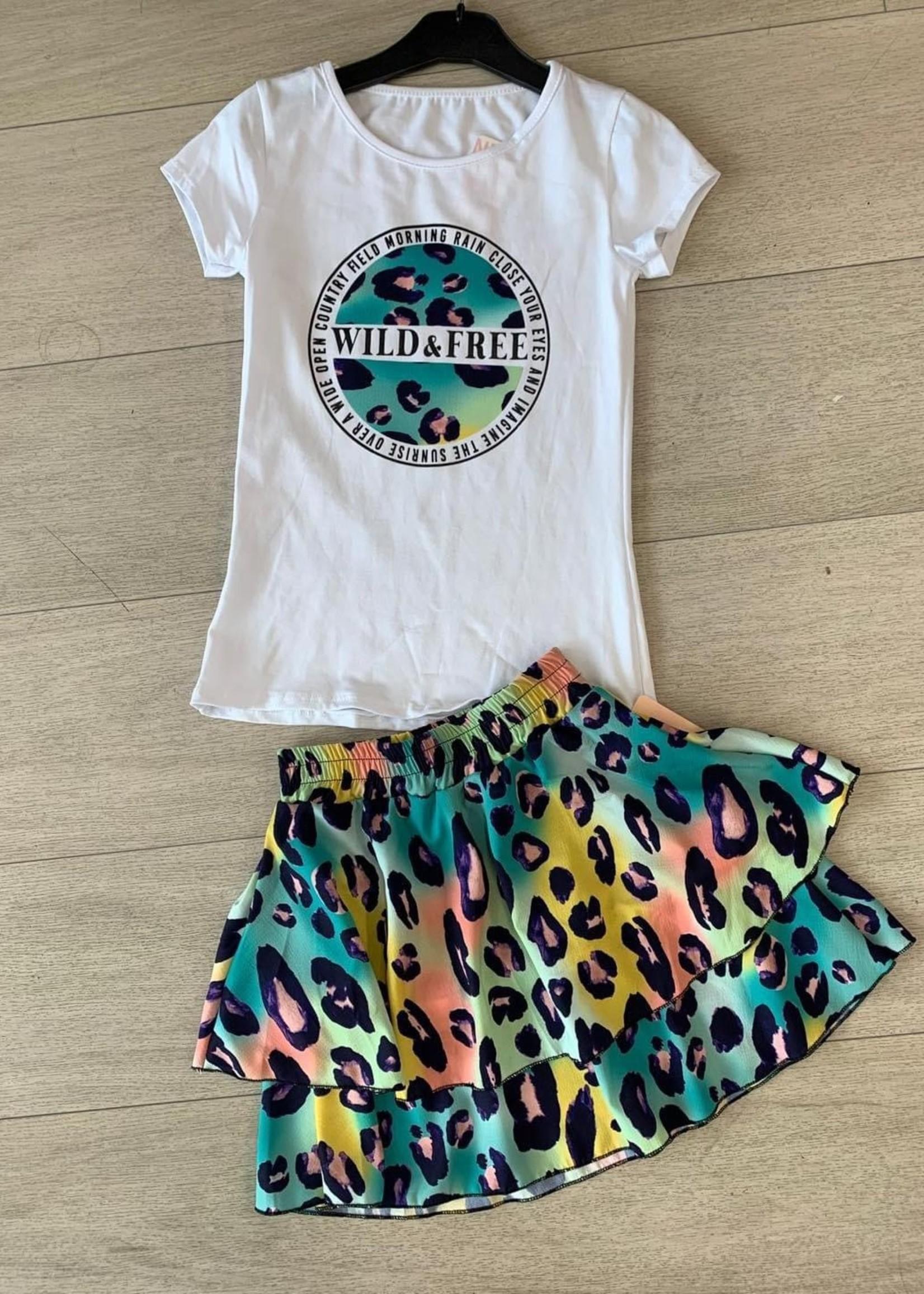 Divanis Divanis wild & free skirt set panter geel blauw