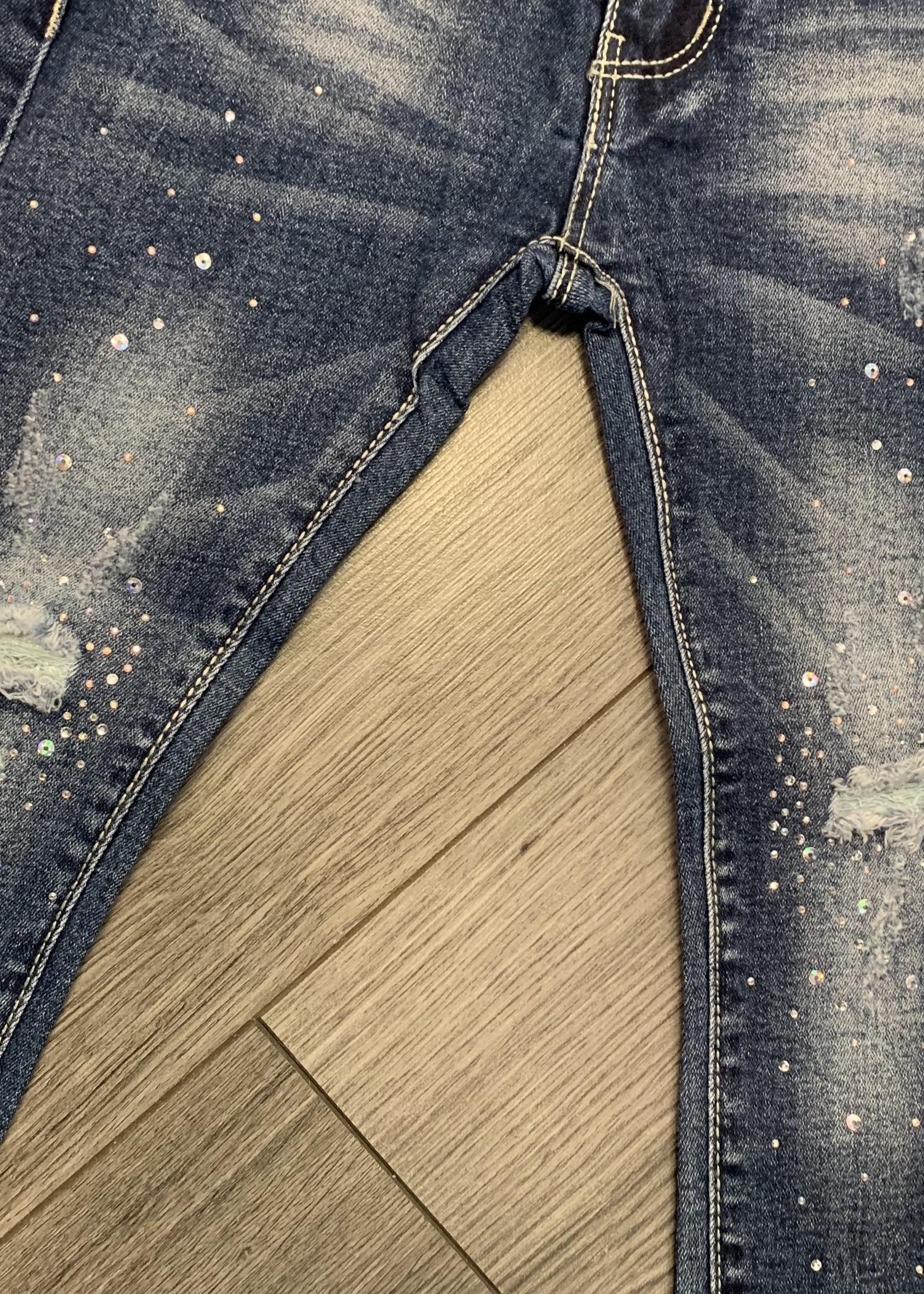 Divanis Divanis donkere spijkerbroek met steentjes