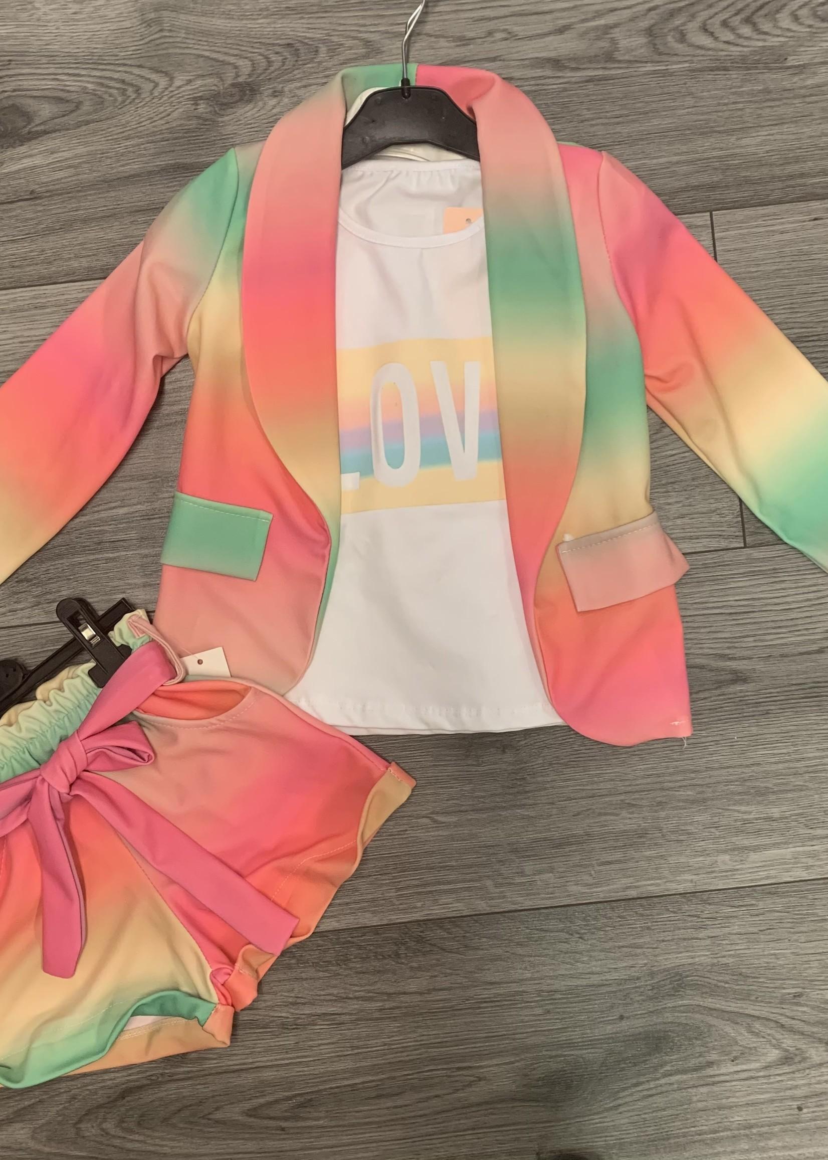Divanis Divanis 3 delig rainbow set roze