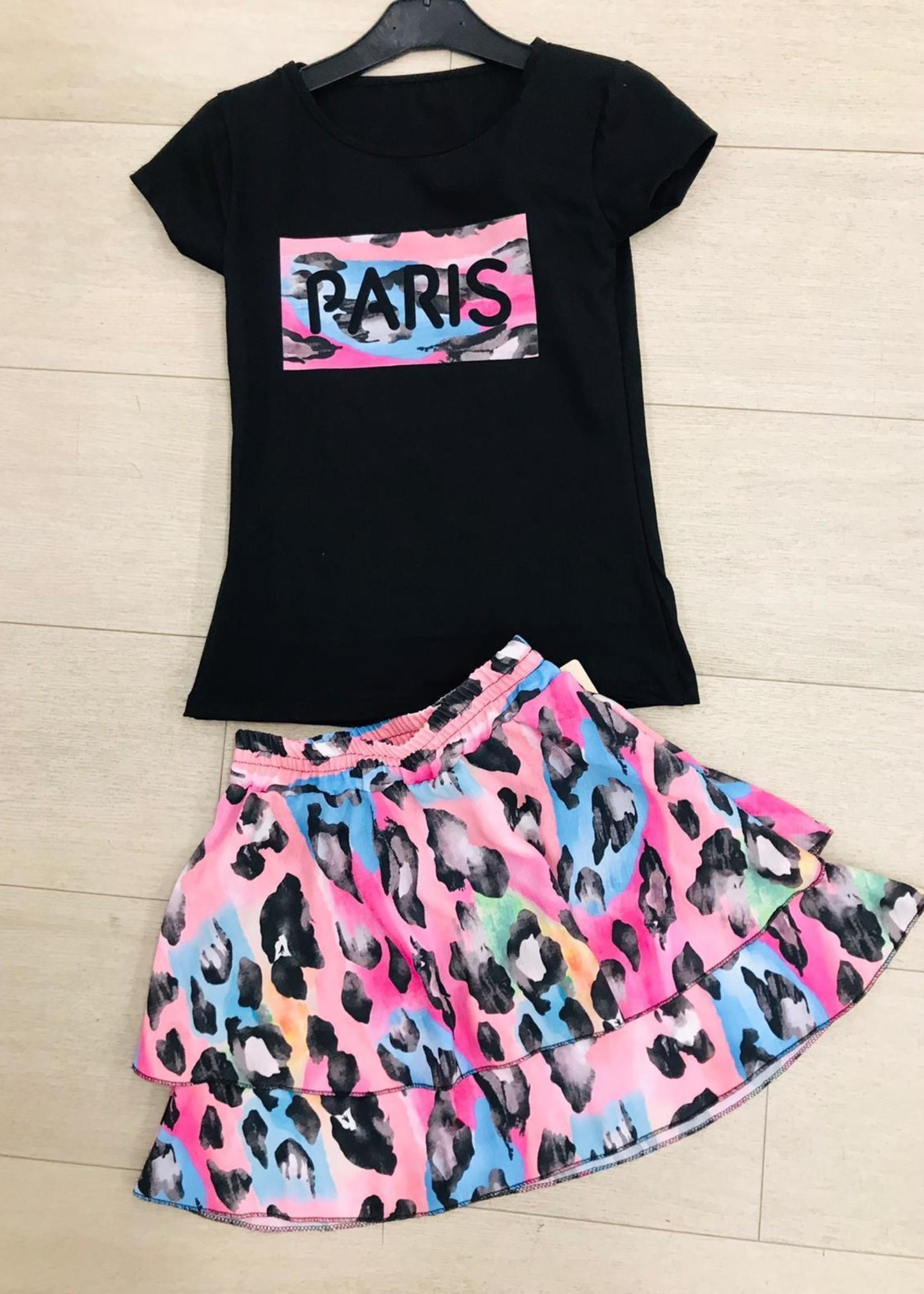 Divanis Divanis paris skirt set zwart roze