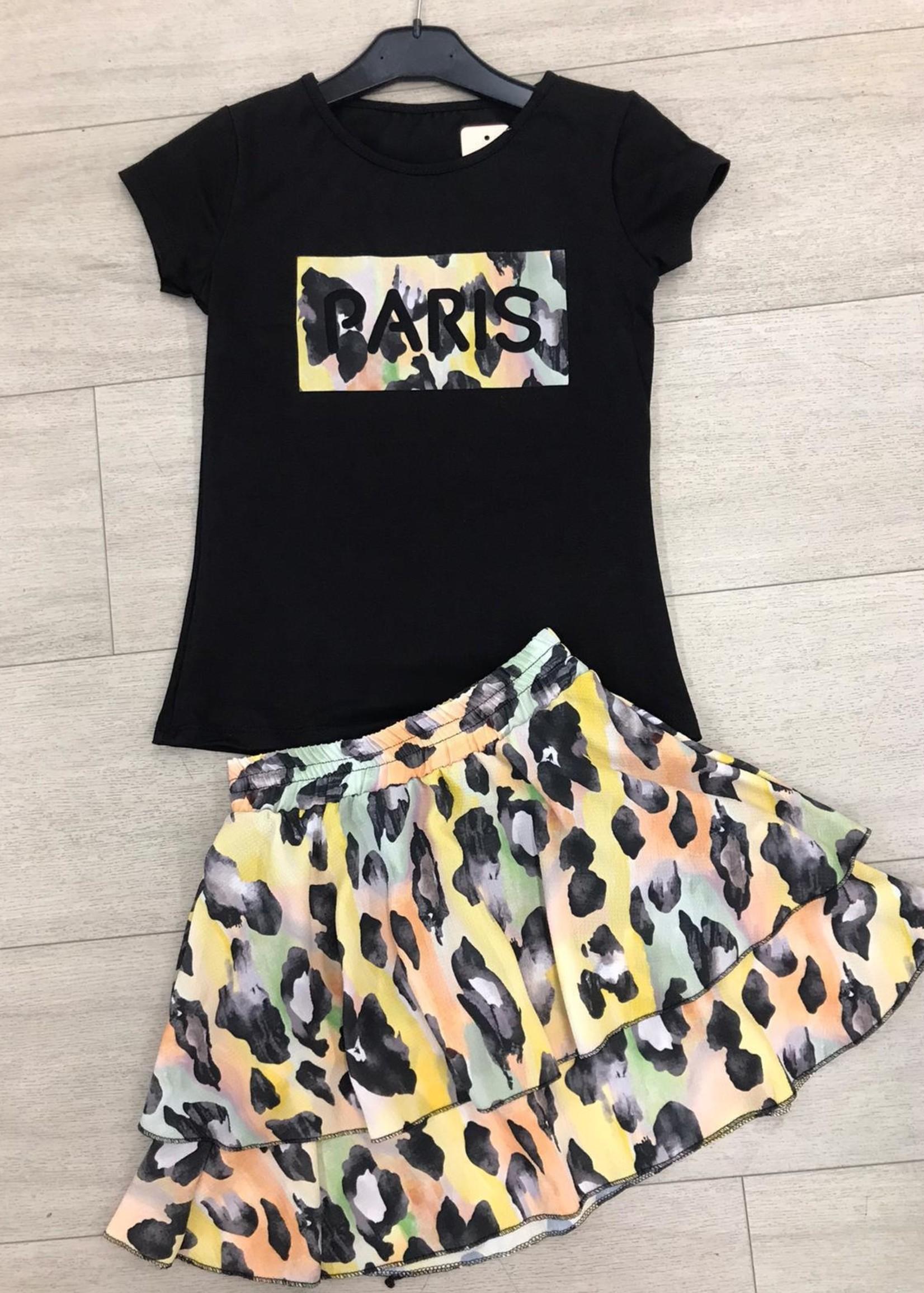 Divanis Divanis paris skirt set zwart geel
