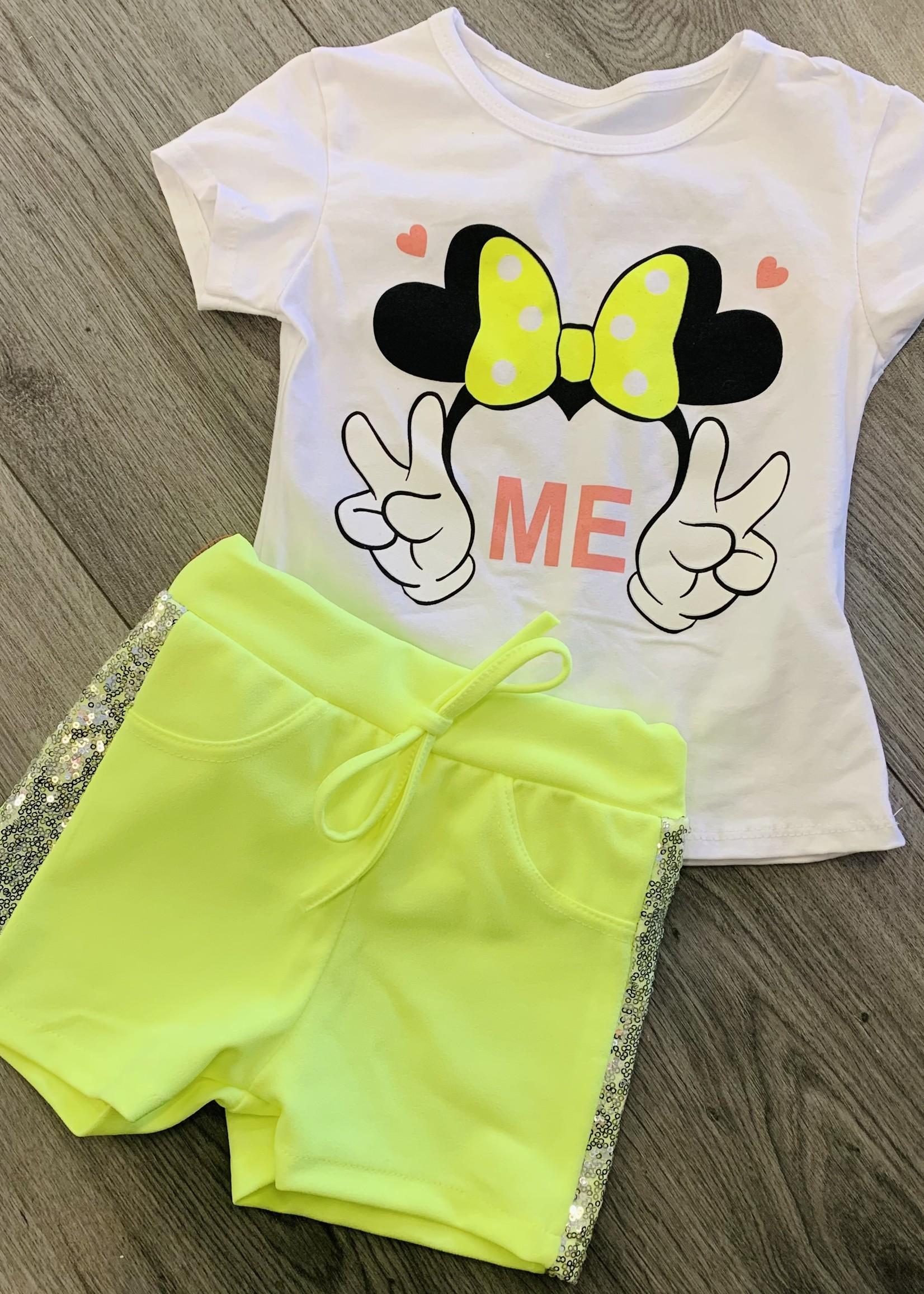 Divanis Divanis minnie mouse neon geel set