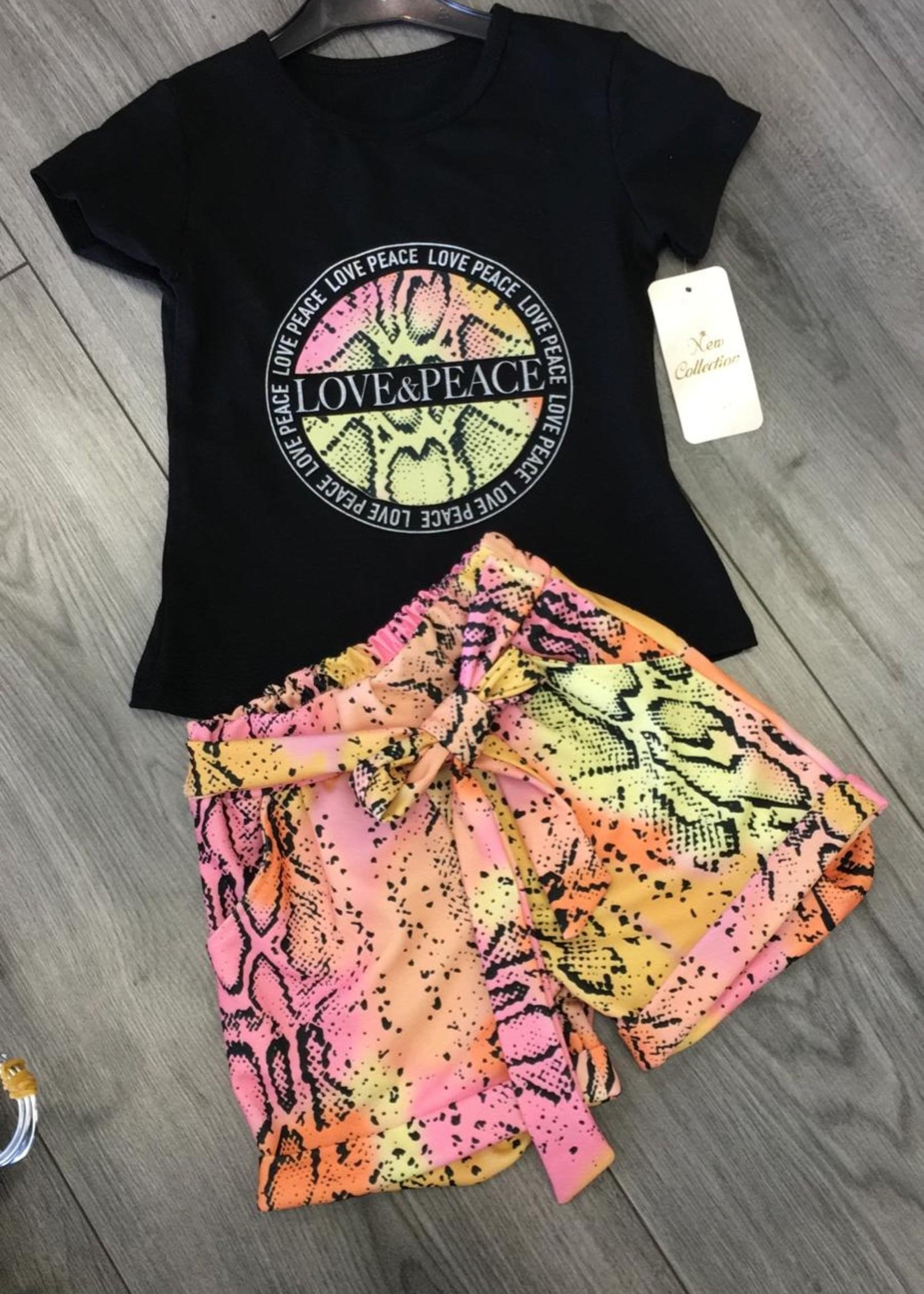 Divanis Divanis love & peace set geel roze black shirt