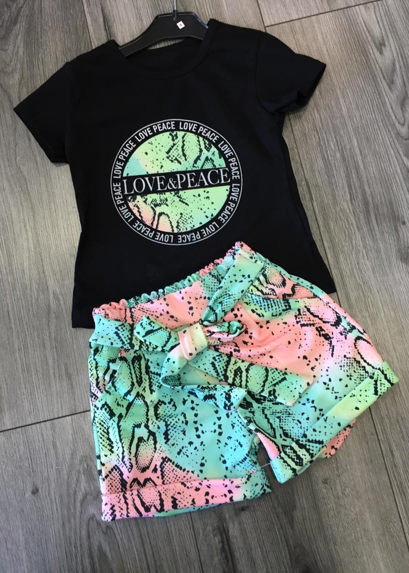 Divanis Divanis love & peace set groen roze zwart shirt