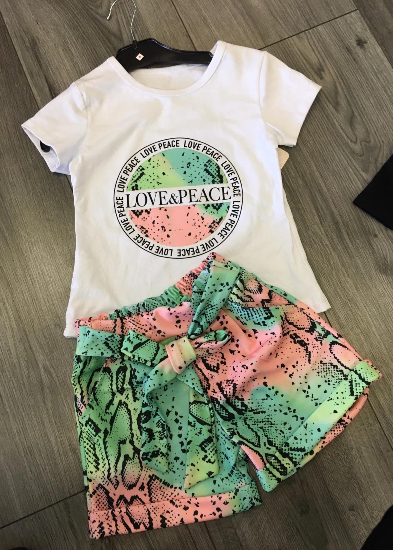 Divanis Divanis love & peace set groen roze wit shirt