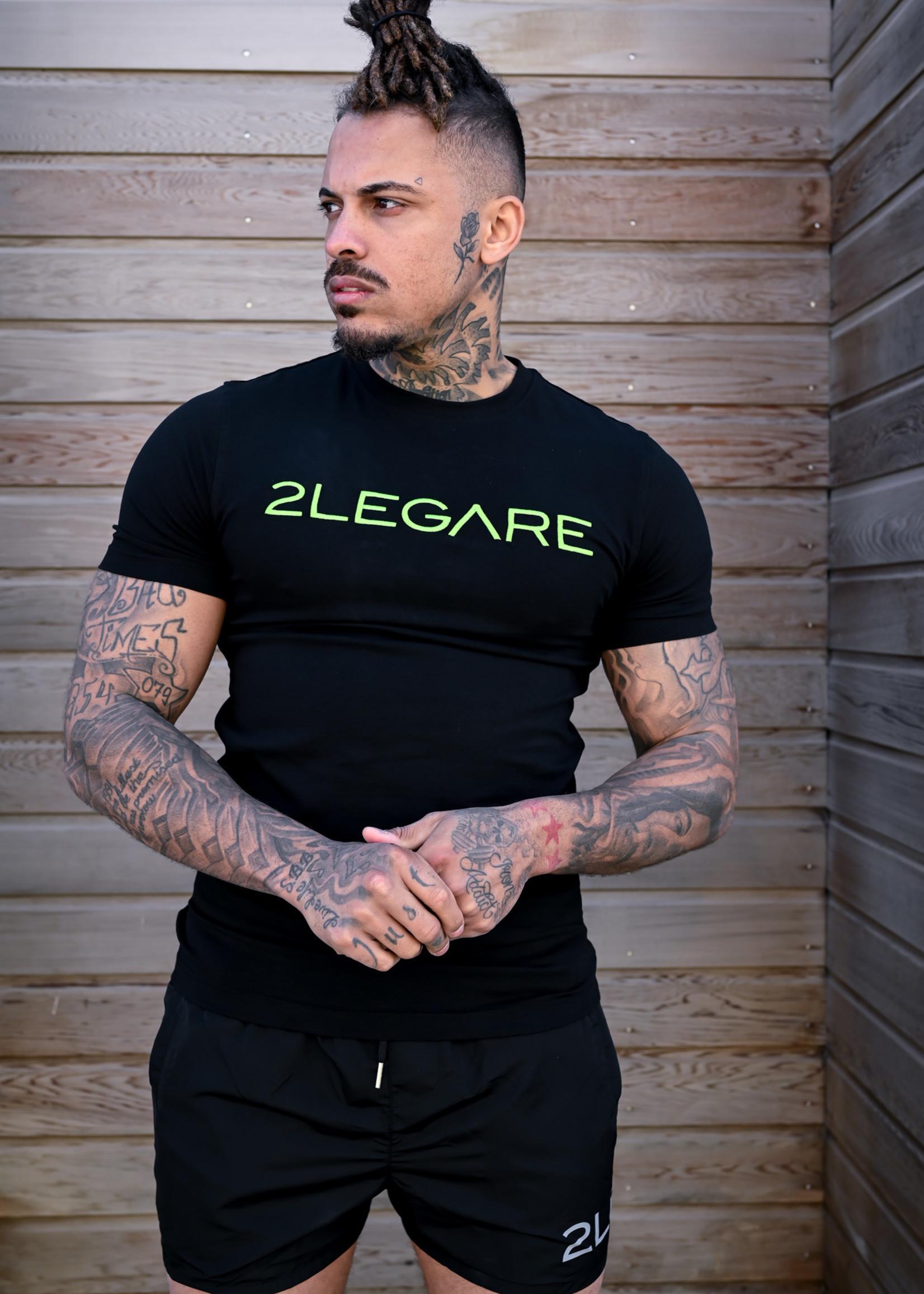 2LEGARE 2LEGARE Men Logo tee Black neongreen