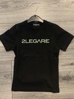 2LEGARE 2LEGARE Kids logo tee black neon yellow