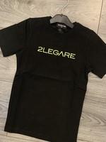2LEGARE 2LEGARE Kids logo tee black neon green