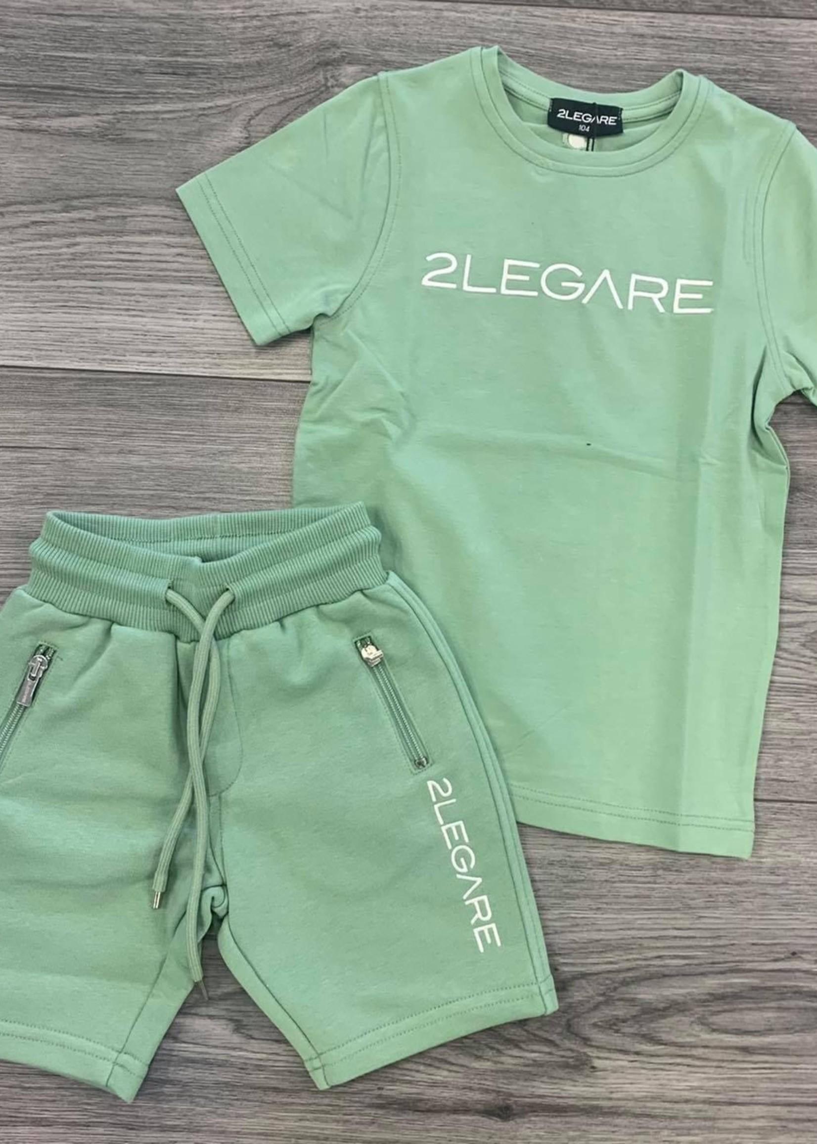 2LEGARE 2LEGARE Kids logo short Light armygreen white