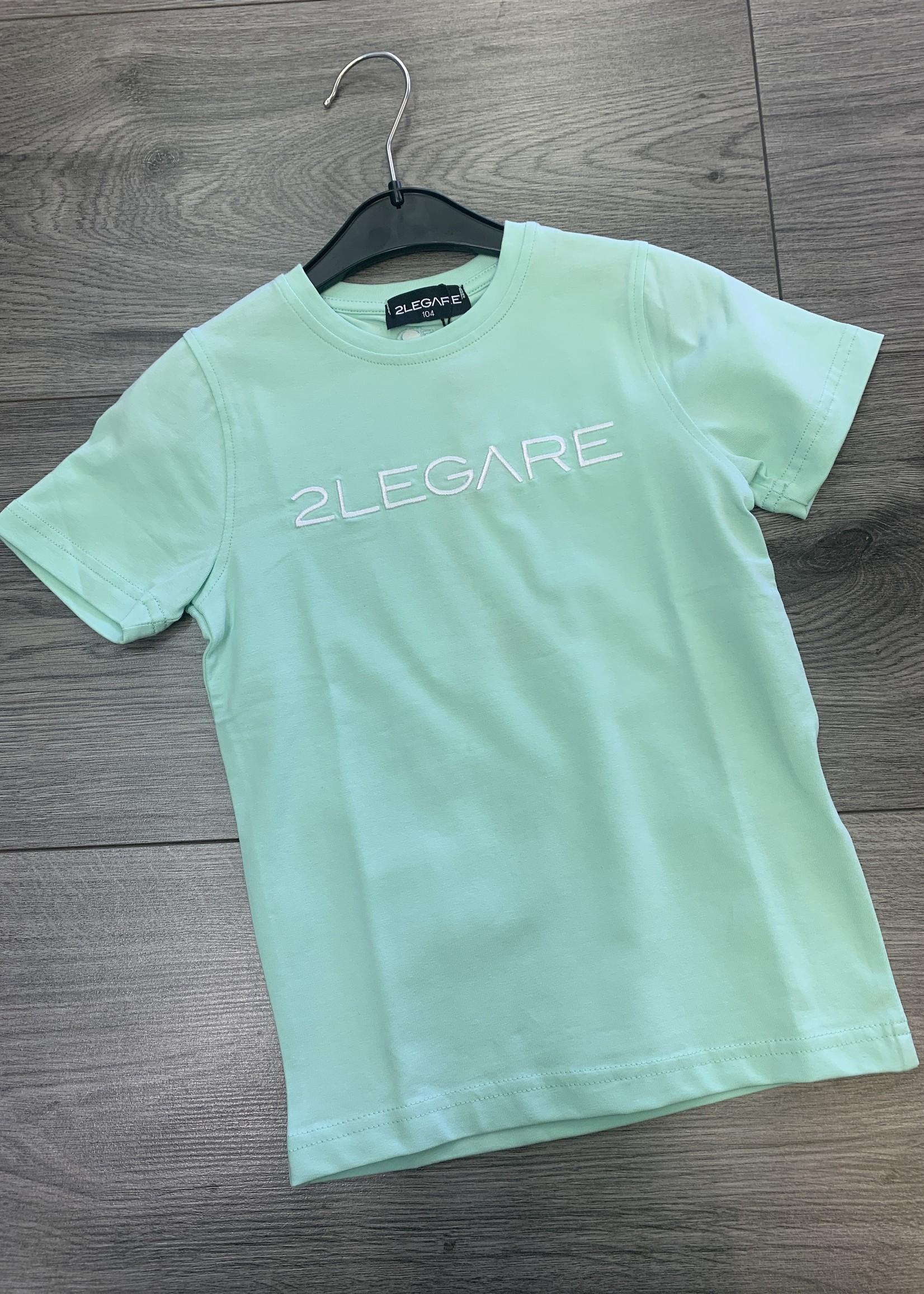 2LEGARE 2LEGARE Kids logo tee mint white
