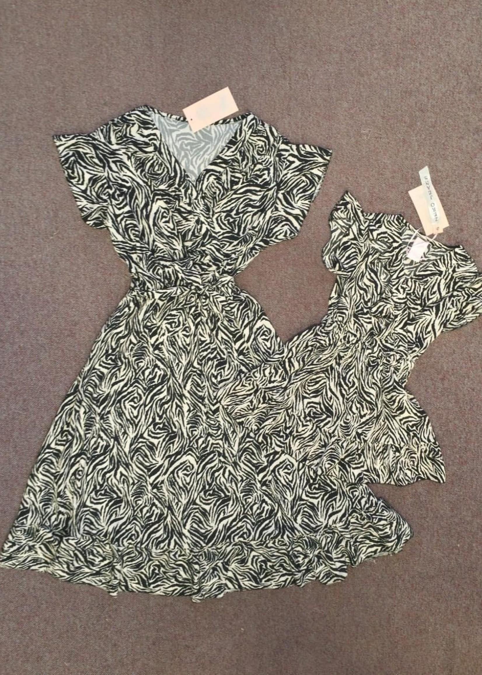 Zero Zero dochter dress zebraprint