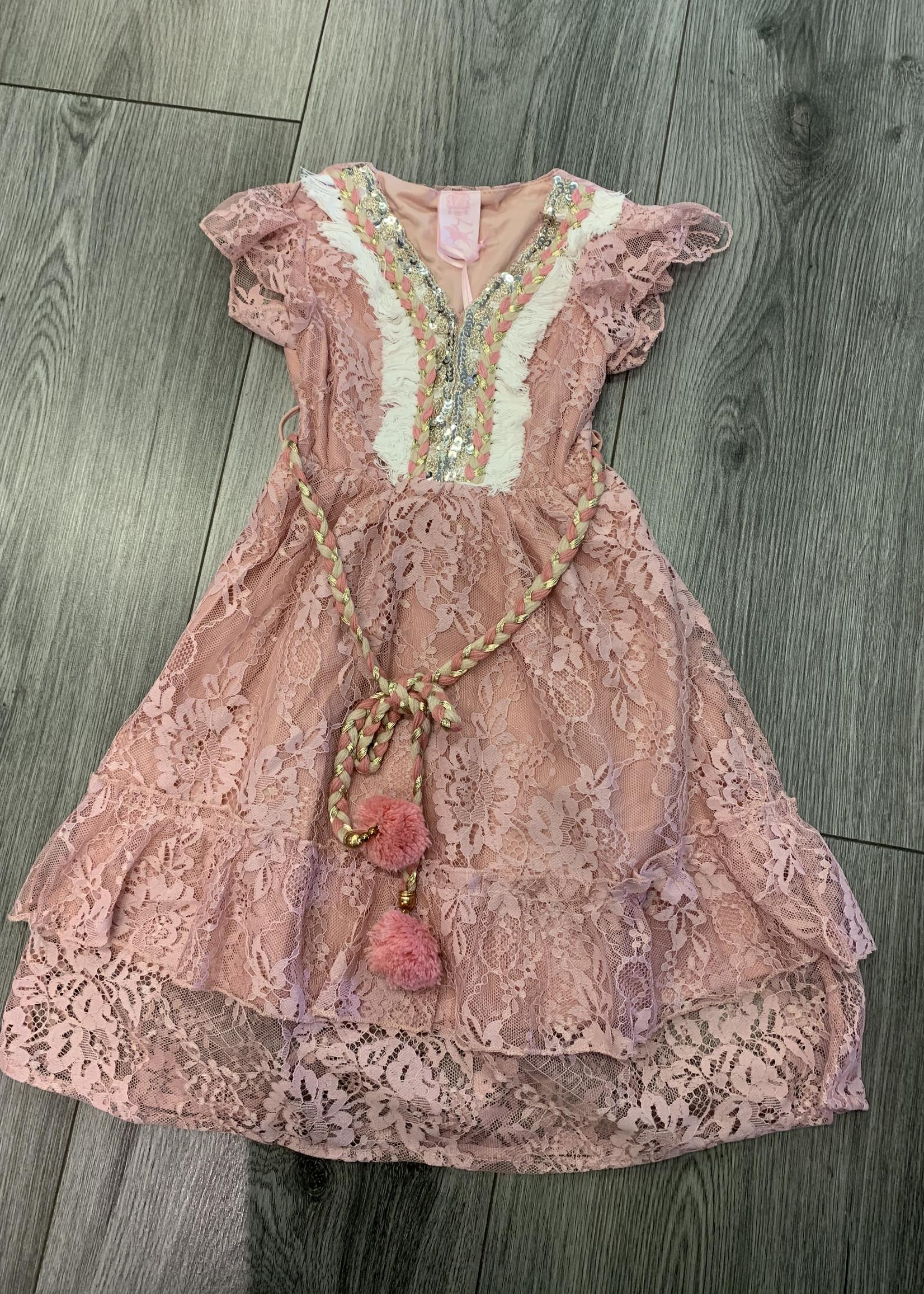 Zero Divanis ibiza dress met pailletjes roze