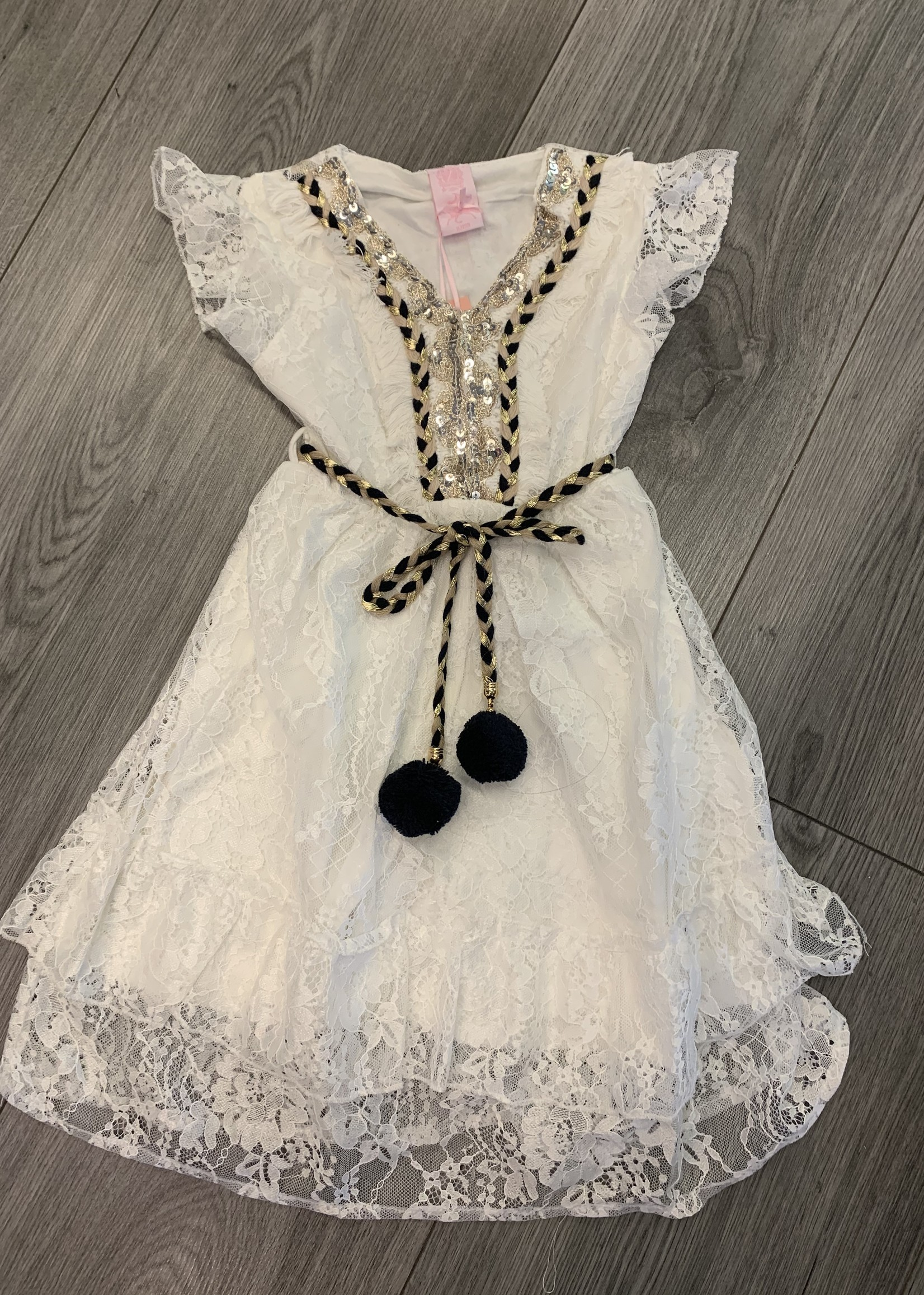 Zero Divanis ibiza dress met pailletjes wit